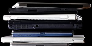 Stack of laptop computers