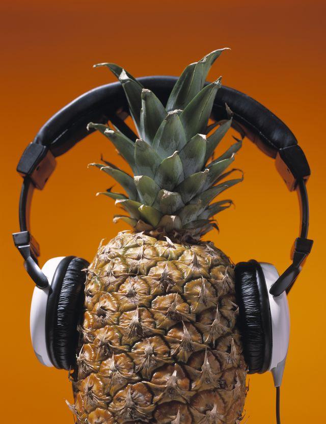 delicious pineapple wearing headphones