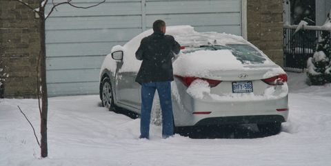 Snow, Mid-size car, Vehicle, Car, Automotive design, Winter, Winter storm, Automotive exterior, Sports sedan, Personal luxury car,