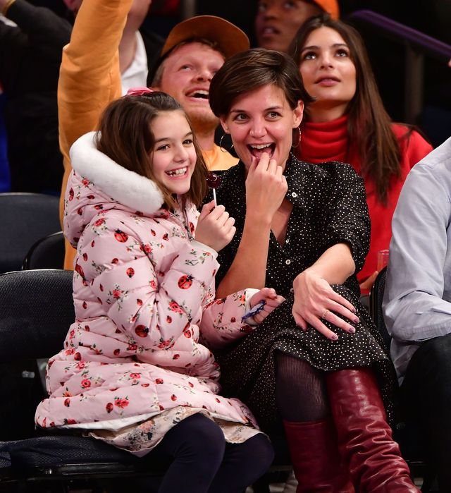 new york, ny   december 16  suri cruise and katie holmes attend the oklahoma city thunder vs new york knicks game at madison square garden on december 16, 2017 in new york city  photo by james devaneygetty images