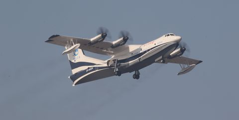 AG600 taking off from Jinwan Civil Aviation Airport.