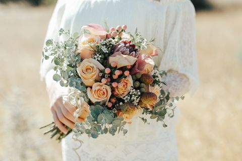 Roses In Wedding Bouquet