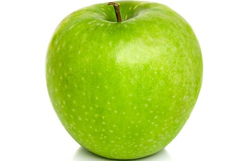 Close-Up Of Green Apple Against White Background