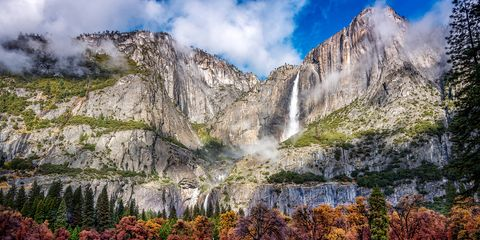 Mountainous landforms, Natural landscape, Nature, Mountain, Wilderness, Nature reserve, Sky, Mountain range, Waterfall, National park,