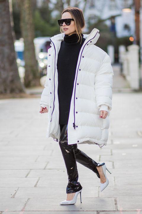 White, Clothing, Street fashion, Photograph, Fashion, Jeans, Outerwear, Coat, Snapshot, Black-and-white,