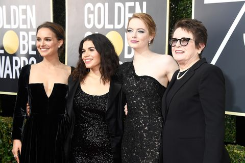beverly hills, ca   january 07  l r actors natalie portman, america ferrera, and emma stone, and former tennis player billie jean king attend the 75th annual golden globe awards at the beverly hilton hotel on january 7, 2018 in beverly hills, california  photo by frazer harrisongetty images