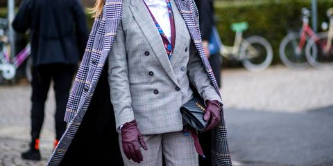 Street fashion, Clothing, Fashion, Outerwear, Pink, Blazer, Suit, Coat, Jacket, Tie,