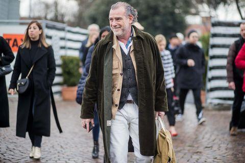 Street fashion, People, Fashion, Human, Outerwear, Coat, Fur, Street, Overcoat, Event,
