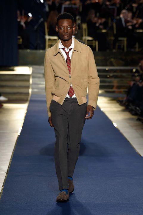 Fashion, Runway, Suit, Fashion show, Clothing, Fashion design, Fashion model, Brown, Formal wear, Outerwear,