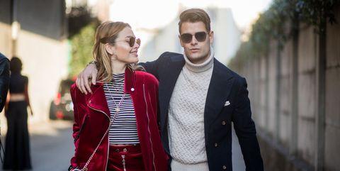 Street fashion, Fashion, People, Red, Clothing, Suit, Plaid, Blazer, Outerwear, Design,