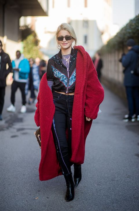 Street fashion, Clothing, Fashion, Red, Outerwear, Snapshot, Pink, Fur, Footwear, Jeans,