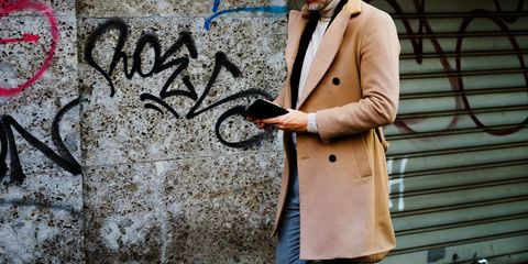 Street fashion, Clothing, Trench coat, Fashion, Coat, Outerwear, Wall, Overcoat, Blazer, Cool,