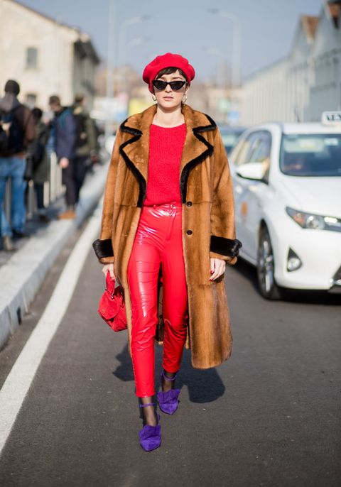 Street fashion, Clothing, Pink, Red, Fashion, Outerwear, Coat, Headgear, Footwear, Sunglasses,