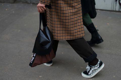Street fashion, Tartan, Footwear, Snapshot, Pattern, Fashion, Leg, Outerwear, Design, Plaid,