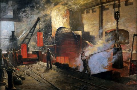 Oil painting by E.F. Skinner showing steel being produced by the Bessemer Process at Penistone Steel Works, South Yorkshire. Circa 1916.