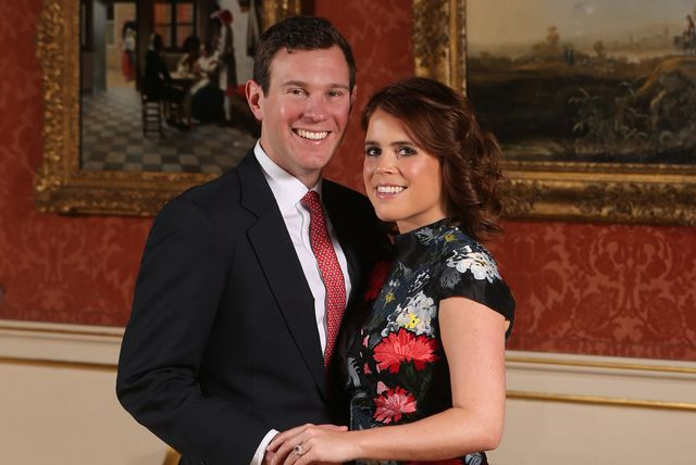 london, england  january 22 princess eugenie and jack brooksbank in the picture gallery at buckingham palace after they announced their engagement princess eugenie wears a dress by erdem, shoes by jimmy choo and a ring containing a padparadscha sapphire surrounded by diamonds on january 22, 2018 in london, england  they are to marry at st georges chapel in windsor castle in the autumn this year photo by jonathan brady   wpa poolgetty images