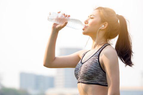 Water, Drinking water, Beauty, Skin, Drinking, Sunlight, Waist, Photography, Drink, Backlighting,