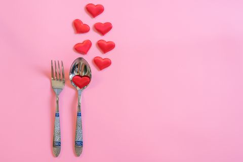 Fork, Pink, Spoon, Red, Cutlery, Still life photography, Tableware, Kitchen utensil, Photography, Heart,