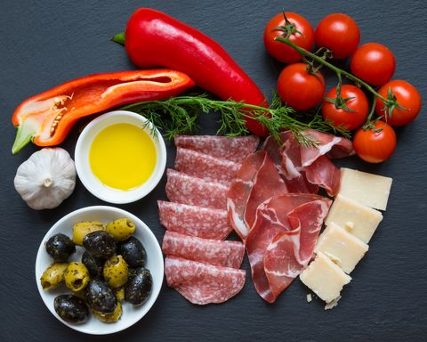 Food, Dish, Cuisine, Ingredient, Prosciutto, Salt-cured meat, Produce, Meat, Antipasto, Charcuterie,