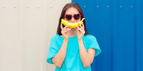Heart Shape Sunglasses Woman with Funny Big Banana Smile