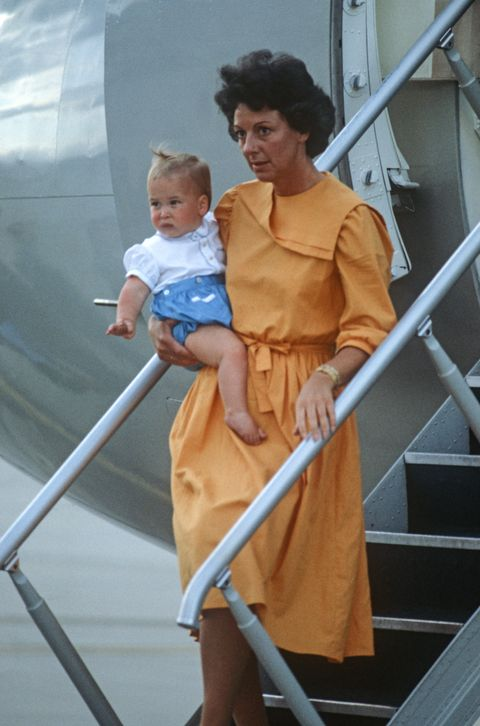 melbourne   april 16 nanny barbara barnes carries prince william off of a plane at melbourne airport, australia on april 16, 1983, at the end of the royal tour of australiaphoto by david levensongetty images