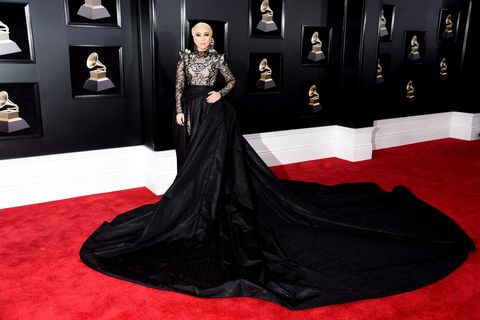 lady gaga black gown and train at grammys 2018 lady gaga grammys 2018 dress lady gaga grammys 2018 dress