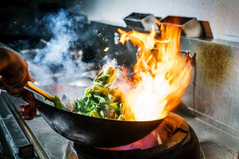 Wok, Cookware and bakeware, Food, Dish, Cuisine, Cooking, Recipe, Thai food, Flame, Stir frying,