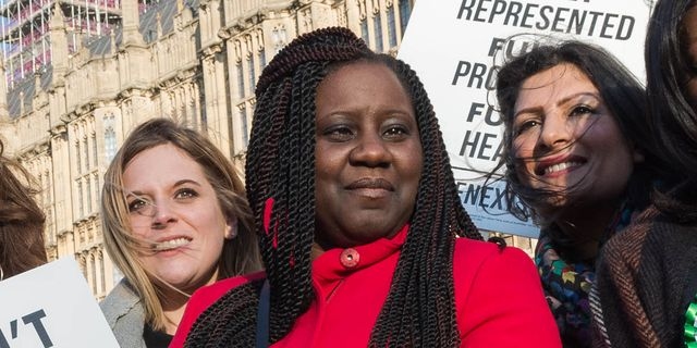 london, united kingdom   february 6 female labour politicians including shadow home secretary diane abbott l marsha de cordova c and eleanor smith   3rd r with rosette gather outside parliament as the labour party launches campaign to celebrate the 100th anniversary of the representation of the people act 1918 february 6, 2018 in london, england photo credit should read wiktor szymanowicz  barcroft media via getty images