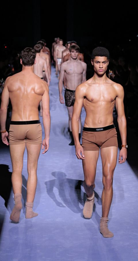 Barechested, Underpants, Fashion, Fashion model, Fashion show, Briefs, Clothing, Runway, Muscle, Model,