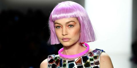 Hair, Face, Fashion, Hairstyle, Hair coloring, Purple, Beauty, Eyebrow, Blond, Pink,