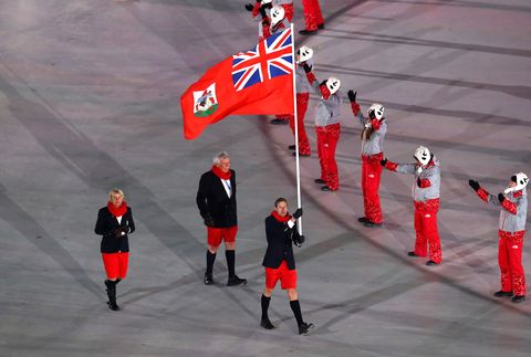 Red, Flag, Marching, Sport venue,