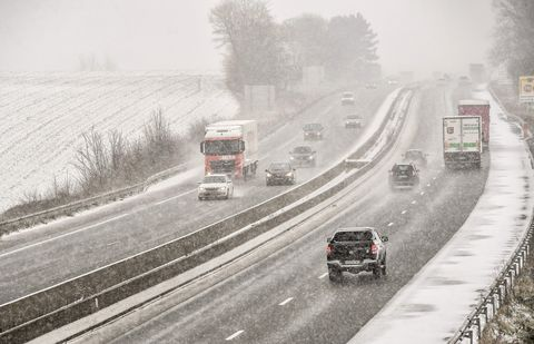 Cars Driving Highway Snow