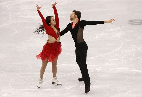 gangneung, south korea   february 11  yura min and alexander gamelin of korea compete during the figure skating team event   ice dance   short dance on day two of the pyeongchang 2018 winter olympic games at gangneung ice arena on february 11, 2018 in gangneung, south korea  photo by robert cianflonegetty images