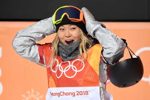 pyeongchang gun, south korea   february 13  chloe kim of the united states reacts to her first run score during the snowboard ladies halfpipe final on day four of the pyeongchang 2018 winter olympic games at phoenix snow park on february 13, 2018 in pyeongchang gun, south korea  photo by david ramosgetty images