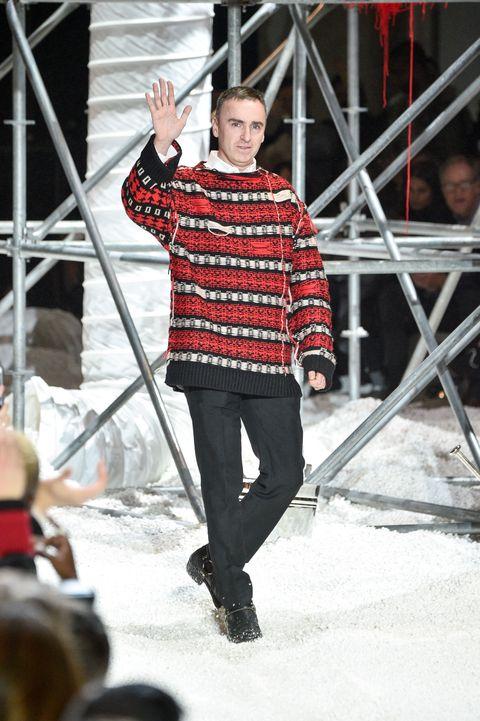 Fashion, Runway, Red, Fashion show, Winter, Footwear, Event, Fashion design, Performance, Jeans,