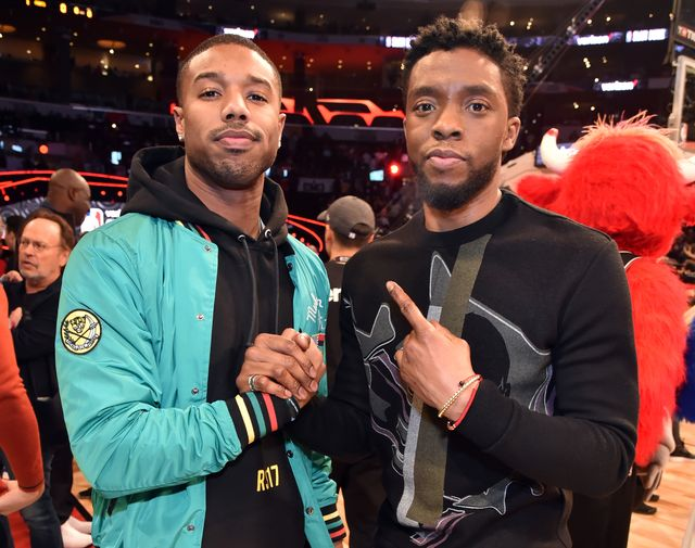 los angeles, ca   february 17  michael b jordan and chadwick boseman attend the 2018 state farm all star saturday night at staples center on february 17, 2018 in los angeles, california  photo by kevin mazurwireimage