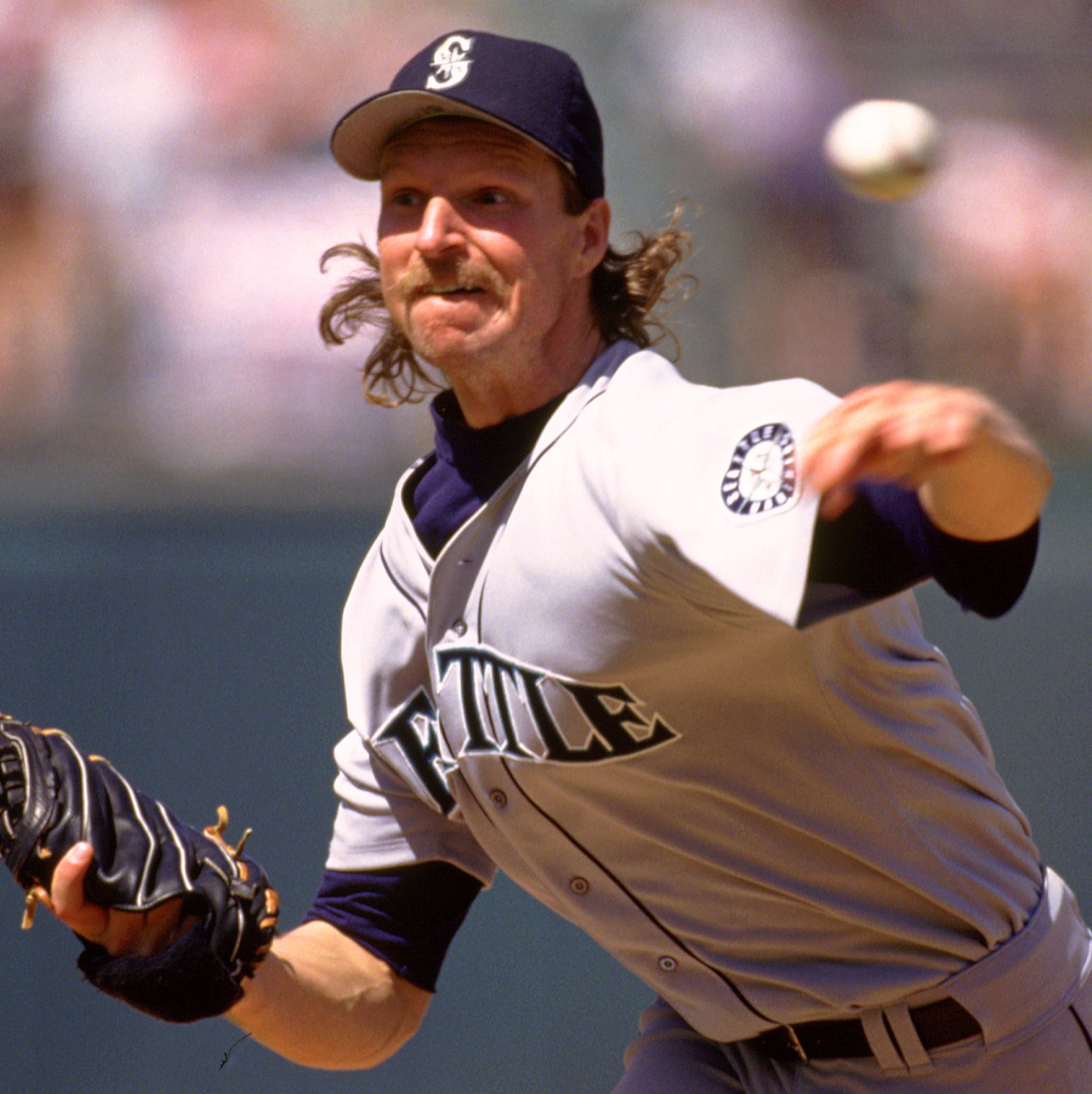 1993: Randy Johnson What is it about famous baseball players and their equally famous stubble? Johnson's mustache never went away, whether he was off the field or throwing record-making strikeouts.