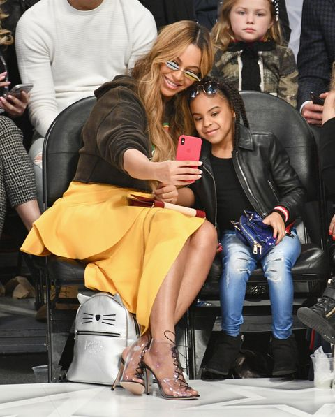 los angeles, ca   february 18  beyonce and blue ivy carter attend the nba all star game 2018 at staples center on february 18, 2018 in los angeles, california  photo by allen berezovskygetty images