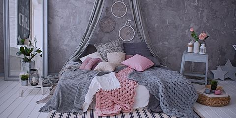 Gray and pink bedroom interior design, bedroom interior, bedding, decoration