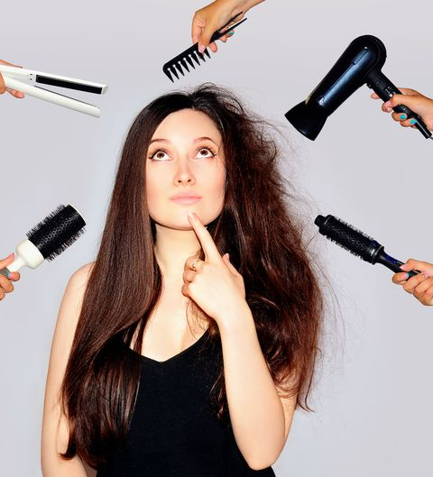young woman getting a beauty and hair style in the same time with hands making different works damaged hair long
