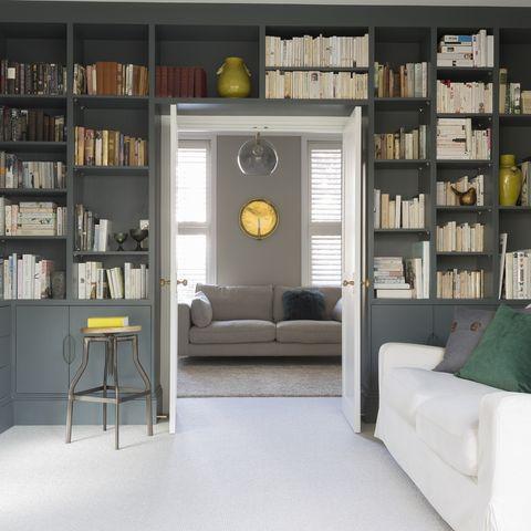 Shelf, Shelving, Bookcase, Furniture, Room, Interior design, Building, Property, Living room, Library,