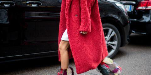 Street fashion, Pink, Red, Clothing, Footwear, Fashion, Magenta, Shoe, Dress, Outerwear,