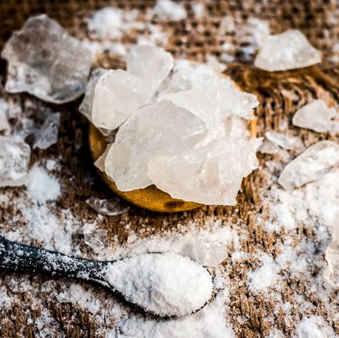 Leaf, Spoon, Sea salt, Rock, Chemical compound,
