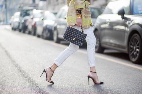 Street fashion, White, Clothing, Fashion, Footwear, Shoulder, Jeans, Beauty, Snapshot, Waist,
