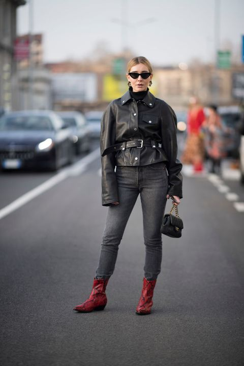 Street fashion, Clothing, Fashion, Jacket, Leather, Jeans, Leather jacket, Footwear, Standing, Outerwear,
