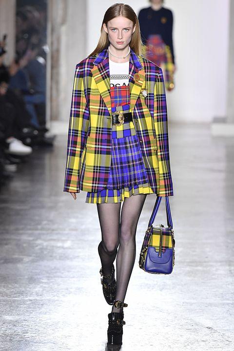 Fashion model, Plaid, Tartan, Fashion, Clothing, Fashion show, Pattern, Street fashion, Runway, Cobalt blue,