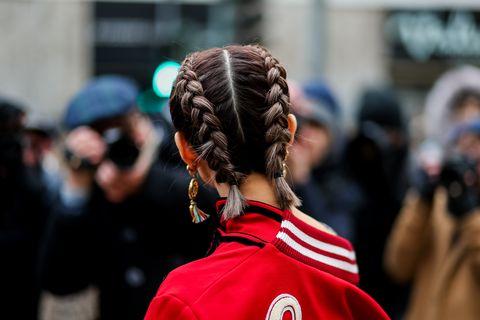 Hair, Hairstyle, Red, Street fashion, Human, Championship, Long hair, Crowd, Team, Street,