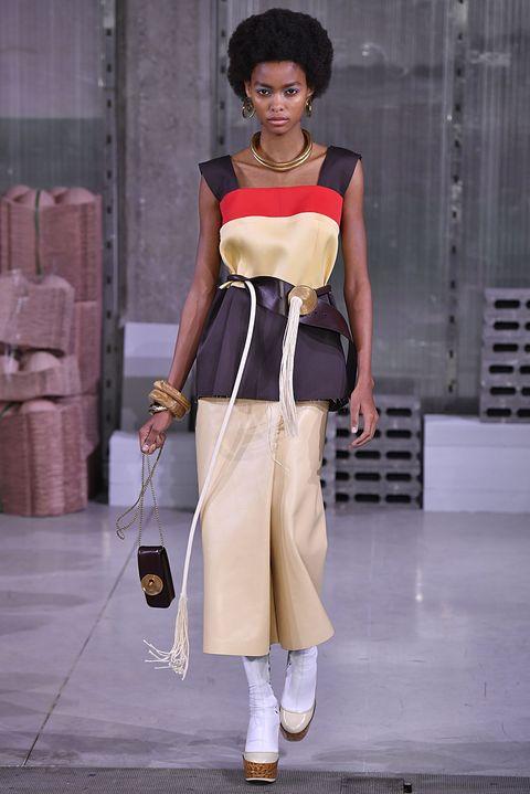 Fashion model, Clothing, White, Fashion, Shoulder, Fashion show, Street fashion, Waist, Dress, Beige,