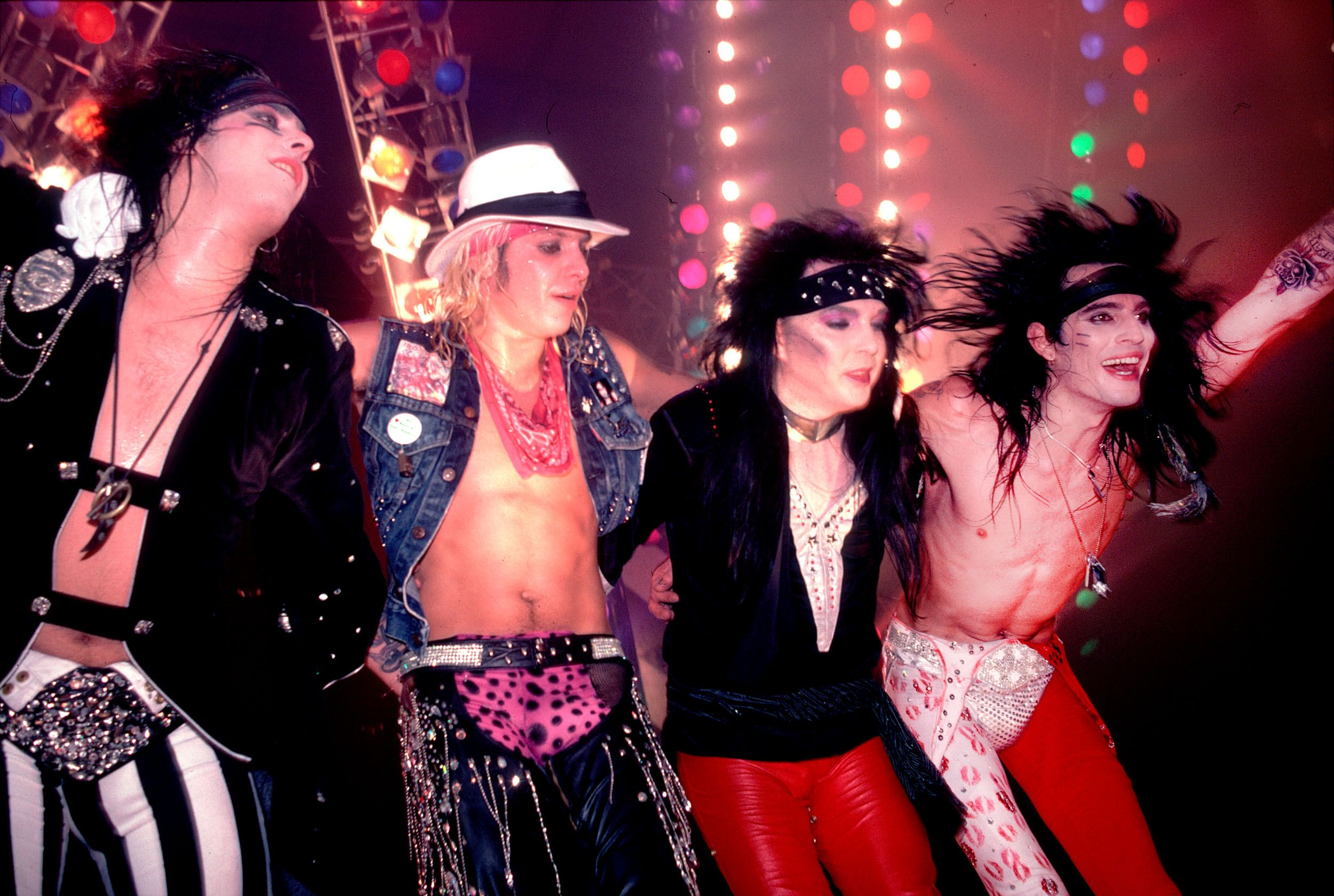 Mötley Crüe performing at the Rosemont Horizon in Rosemont, Illinois, November 1, 1985.