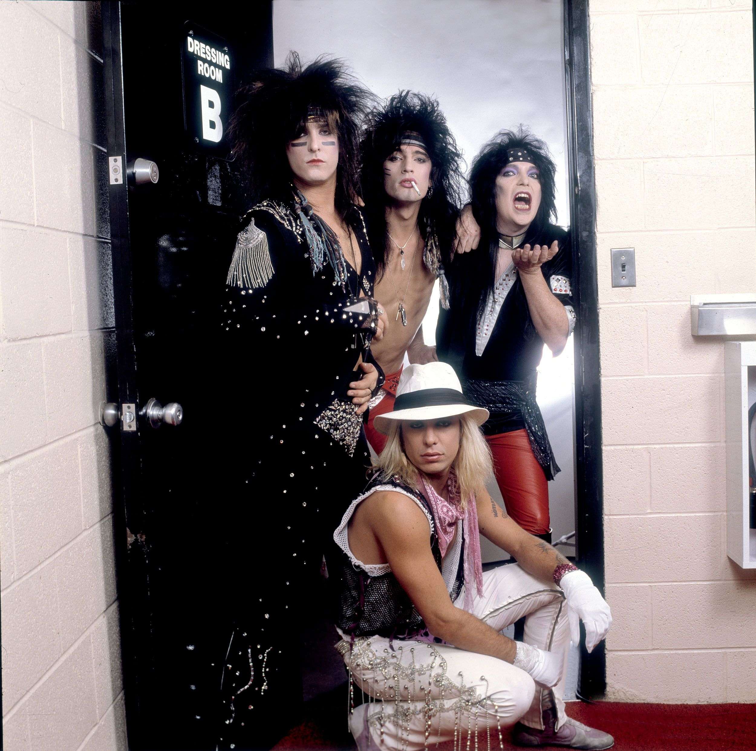 Portrait of Mötley Crüe backstage at the Rosemont Horizon in Rosemont, Illinois, November 1, 1985.